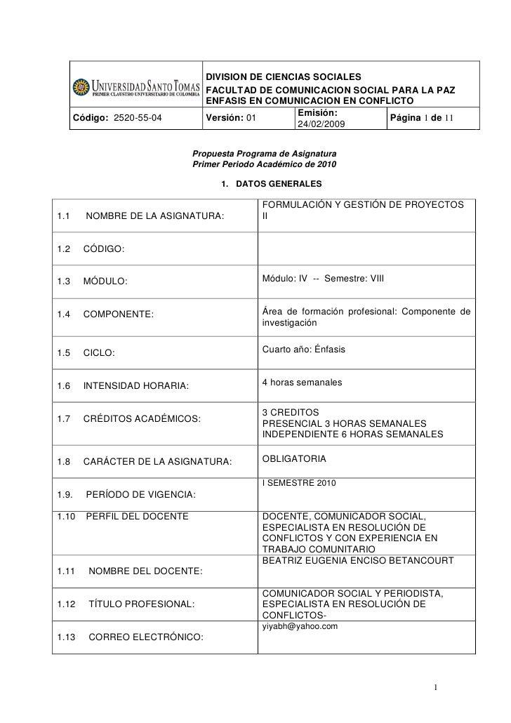 Programa formulación y gestión de proyectos ii prof. beatriz enciso 2010.01