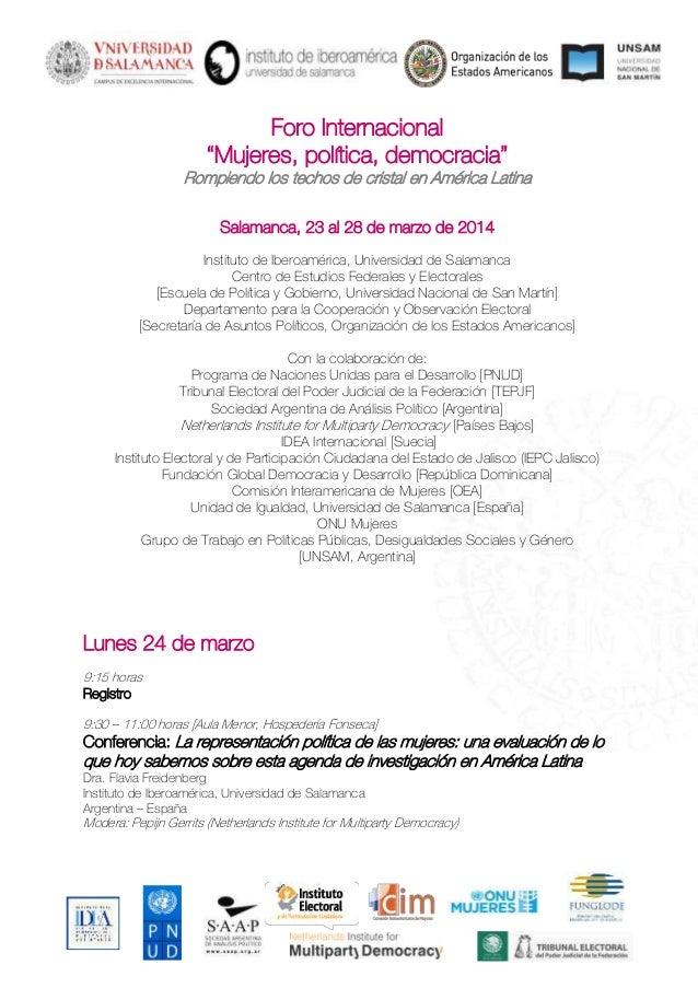 """Foro Internacional """"Mujeres, política, democracia"""" Rompiendo los techos de cristal en América Latina Salamanca, 23 al 28 d..."""