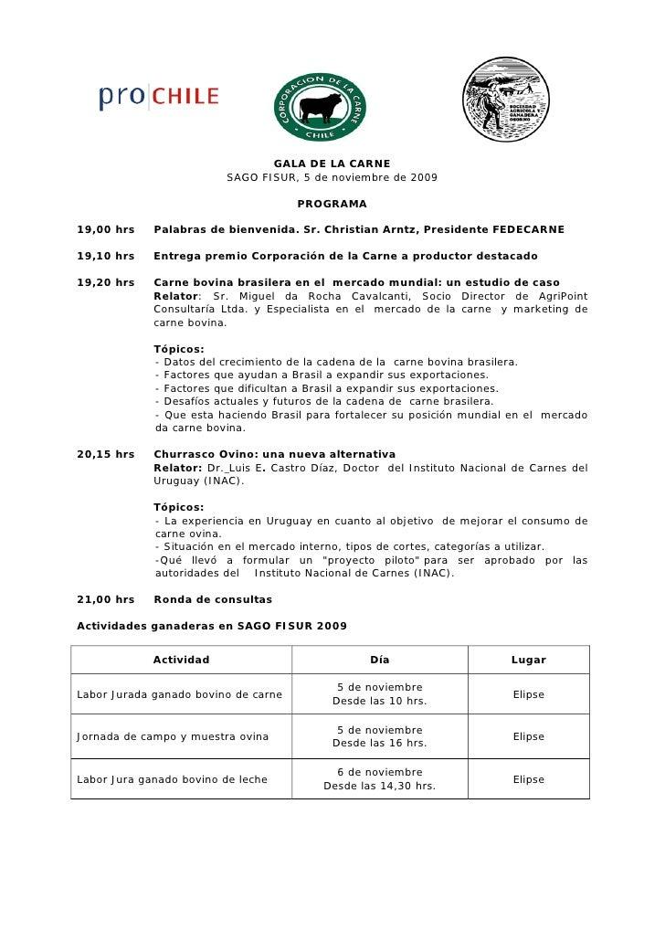GALA DE LA CARNE                          SAGO FISUR, 5 de noviembre de 2009                                        PROGRA...