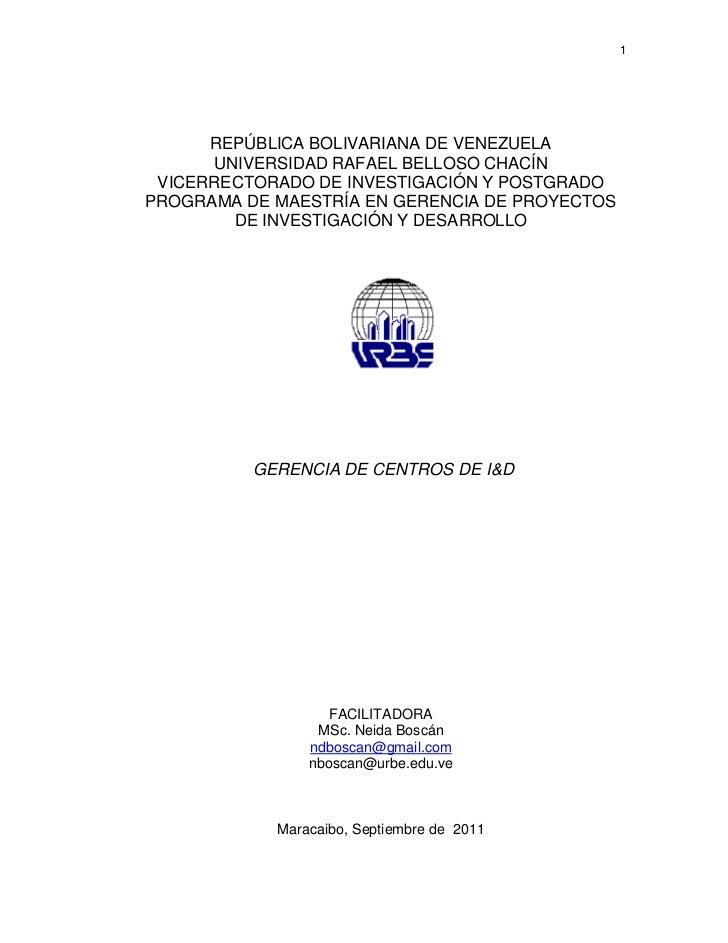 1      REPÚBLICA BOLIVARIANA DE VENEZUELA      UNIVERSIDAD RAFAEL BELLOSO CHACÍN VICERRECTORADO DE INVESTIGACIÓN Y POSTGRA...