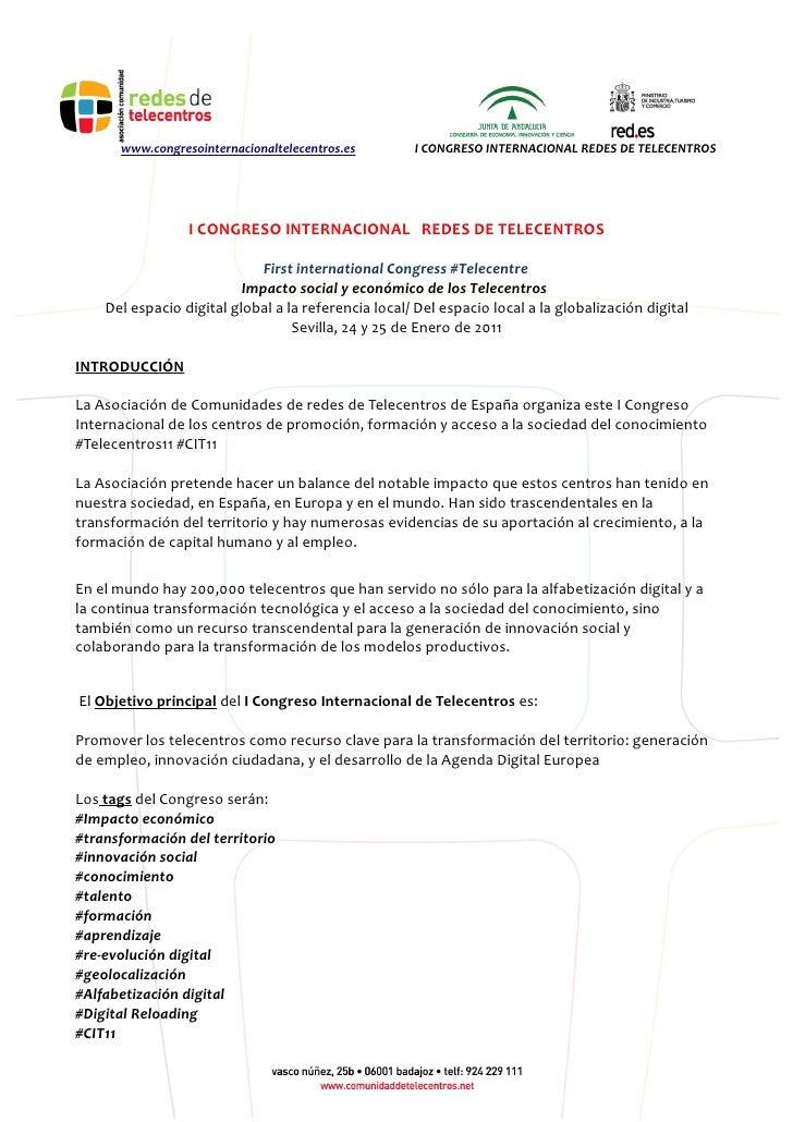 Programa I Congreso Internacional Telecentros