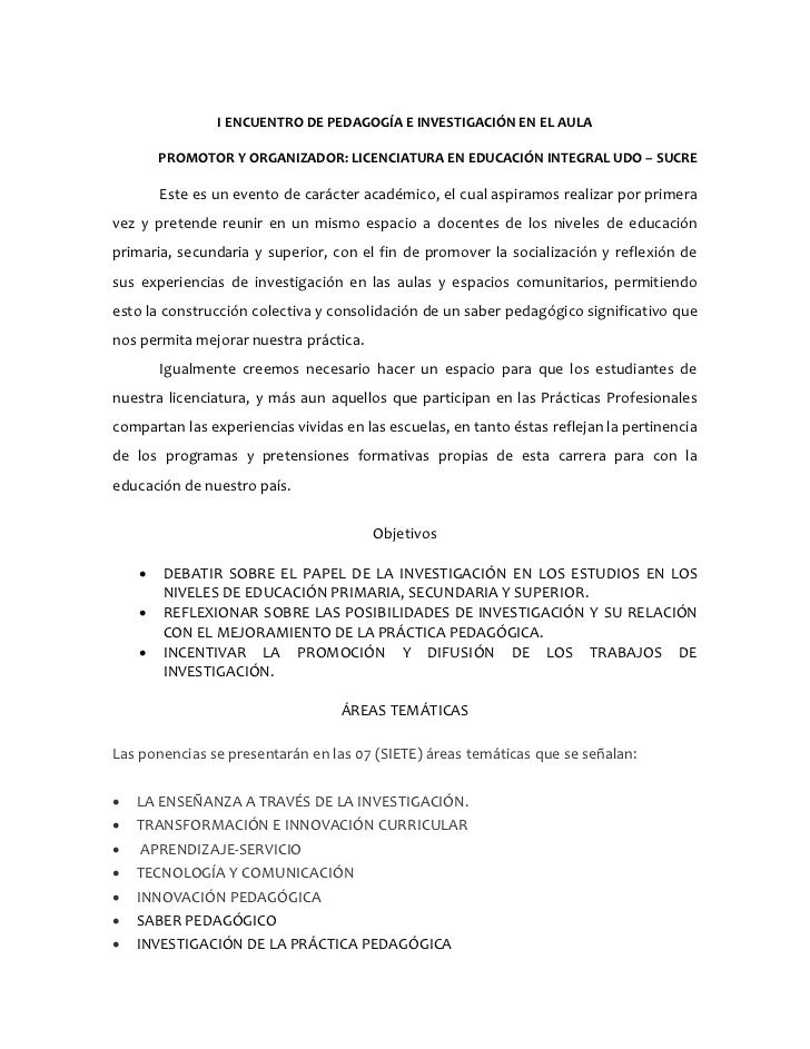 I ENCUENTRO DE PEDAGOGÍA E INVESTIGACIÓN EN EL AULA        PROMOTOR Y ORGANIZADOR: LICENCIATURA EN EDUCACIÓN INTEGRAL UDO ...