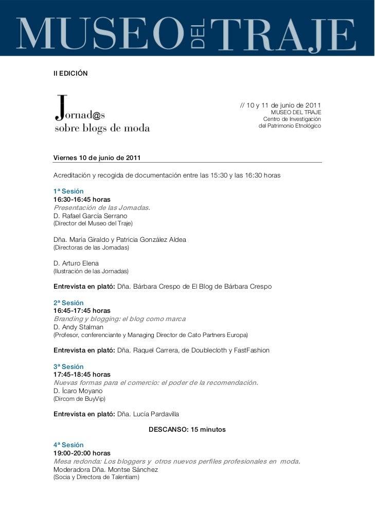 Programa II Jornadas Blogs de Moda
