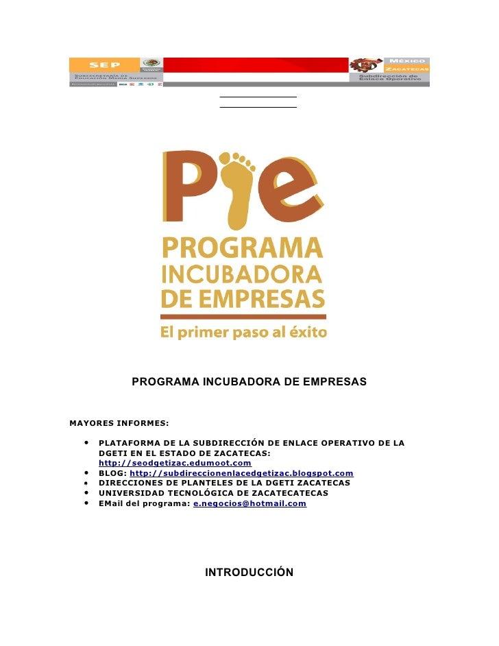 Programa incubadora de empresas (PIE)