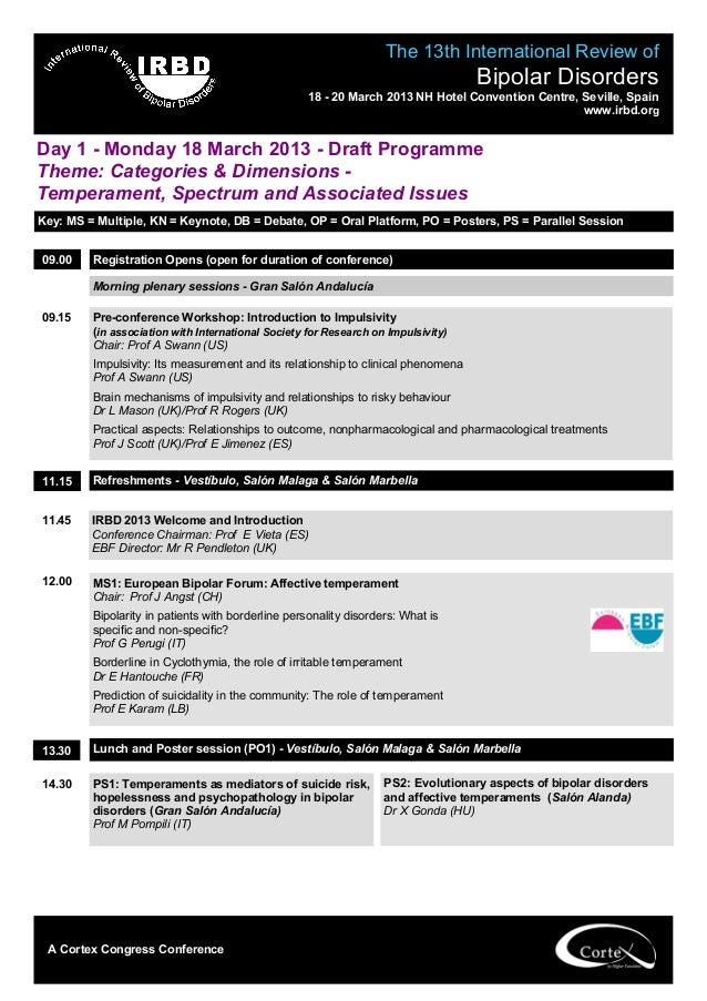Programa International Review of Bipolar Disorders Sevilla 2013