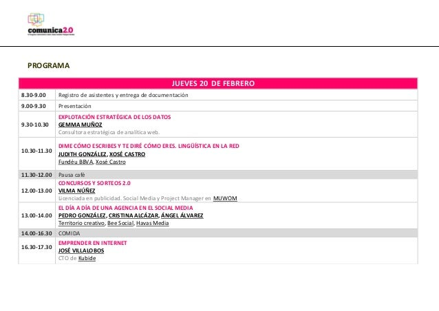PROGRAMA JUEVES 20 DE FEBRERO 8.30-9.00  Registro de asistentes y entrega de documentación  9.00-9.30  Presentación  9.30-...