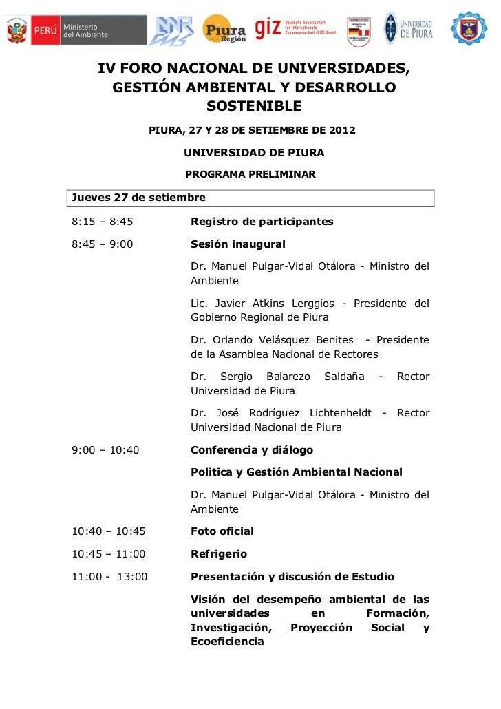 IV FORO NACIONAL DE UNIVERSIDADES,      GESTIÓN AMBIENTAL Y DESARROLLO                SOSTENIBLE                PIURA, 27 ...