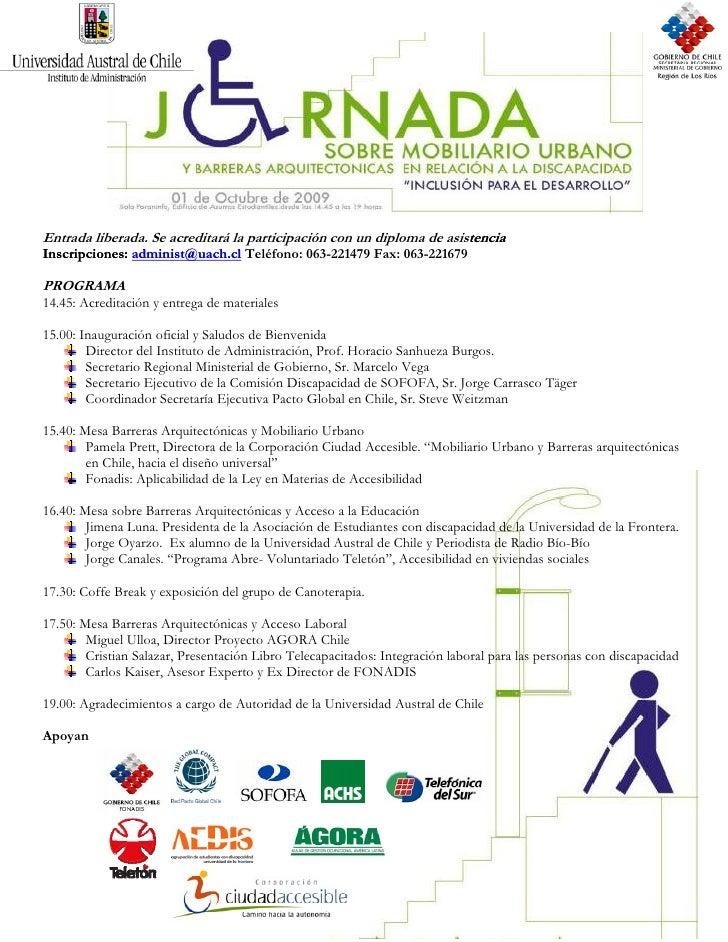 Programa Jornada Mobiliario Urbano 1 De Octubre