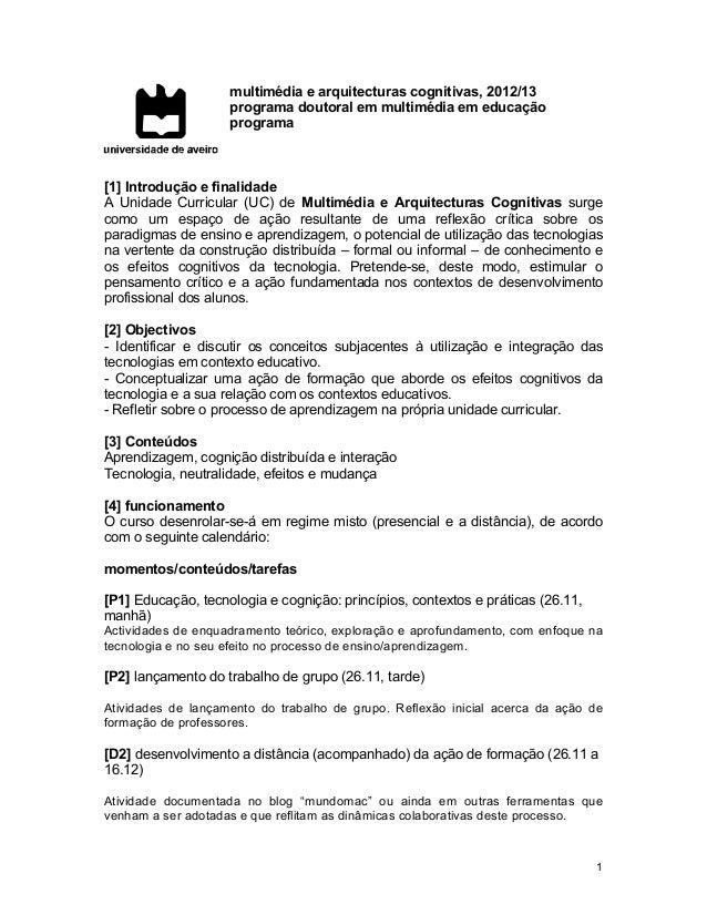 multimédia e arquitecturas cognitivas, 2012/13                    programa doutoral em multimédia em educação             ...