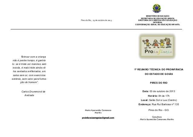 Maria Aparecida Camarano Martins proinfanciaemgoias@gmail.com 1ª REUNIÃO TÉCNICA DO PROINFÂNCIA DO ESTADO DE GOIÁS PIRES D...