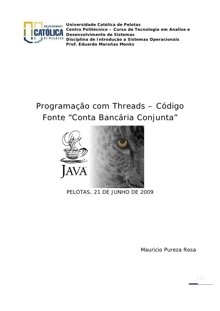 """ProgramaçãO Com Threads – CóDigo Fonte """"Conta BancáRia Conjunta"""""""