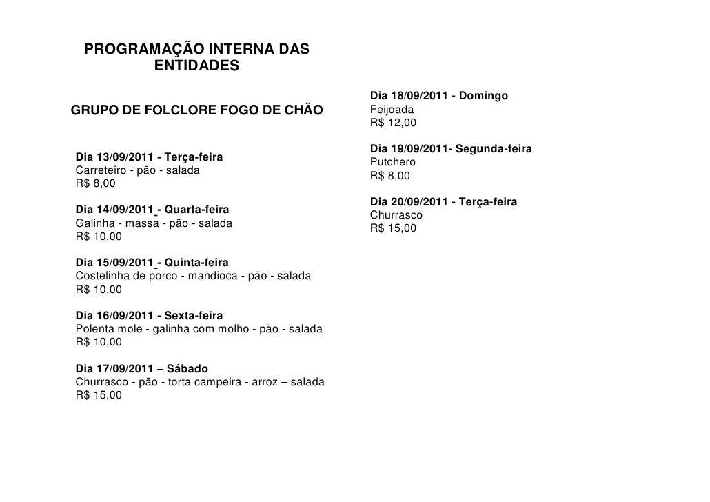 PROGRAMAÇÃO INTERNA DAS       ENTIDADES                                                    Dia 18/09/2011 - DomingoGRUPO D...