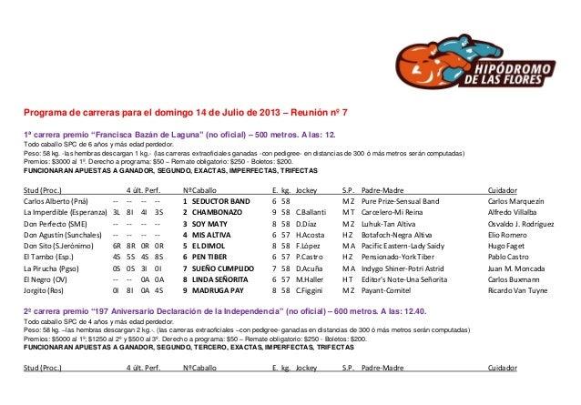 """Programa de carreras para el domingo 14 de Julio de 2013 – Reunión nº 7 1ª carrera premio """"Francisca Bazán de Laguna"""" (no ..."""