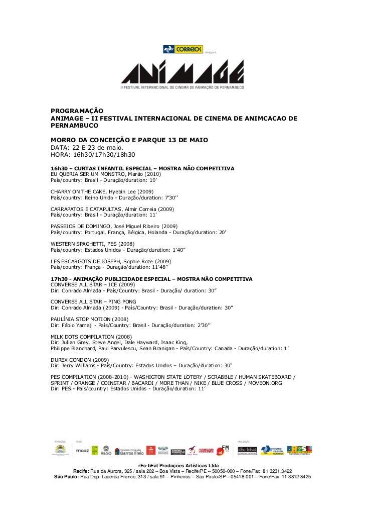 PROGRAMAÇÃO ANIMAGE – II FESTIVAL INTERNACIONAL DE CINEMA DE ANIMCACAO DE PERNAMBUCO  MORRO DA CONCEIÇÃO E PARQUE 13 DE MA...