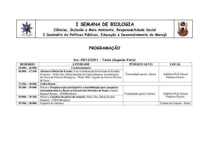 I SEMANA DE BIOLOGIA                         Ciências, Inclusão e Meio Ambiente, Responsabilidade Social                  ...