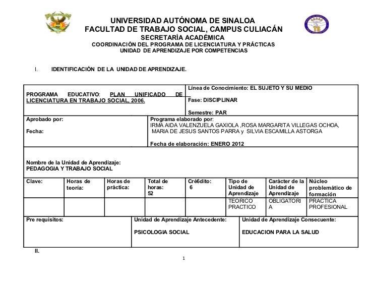 UNIVERSIDAD AUTÓNOMA DE SINALOA                        FACULTAD DE TRABAJO SOCIAL, CAMPUS CULIACÁN                        ...