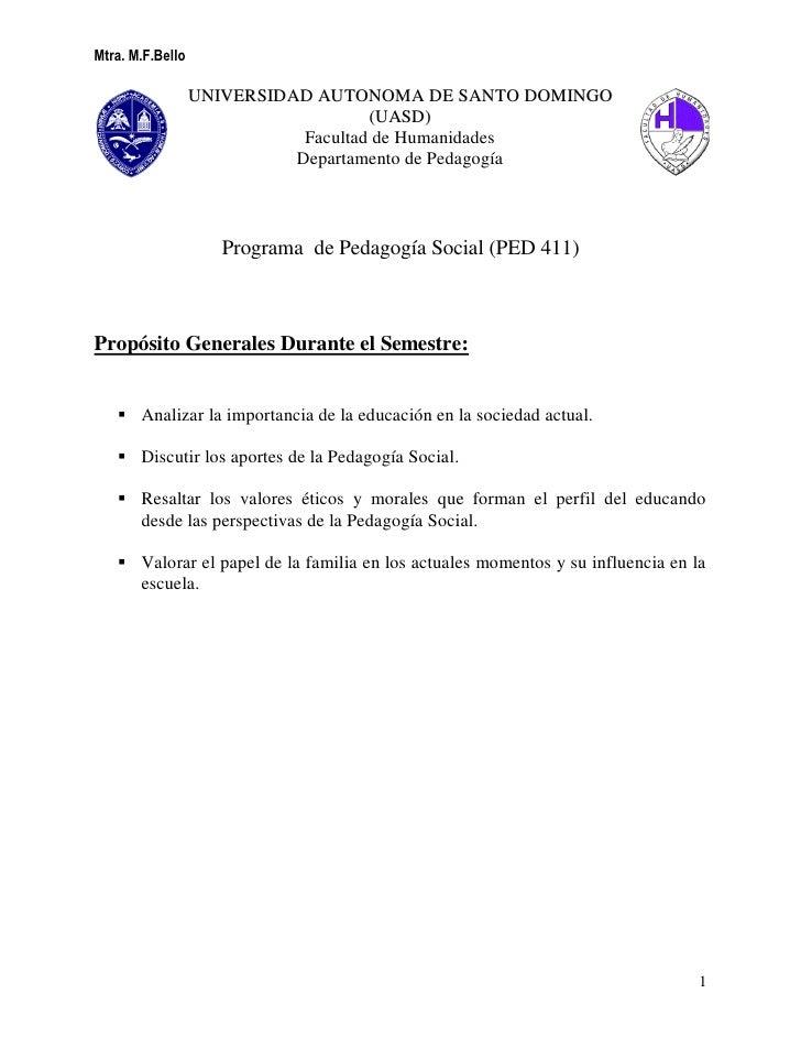 Mtra. M.F.Bello                  UNIVERSIDAD AUTONOMA DE SANTO DOMINGO                                     (UASD)         ...