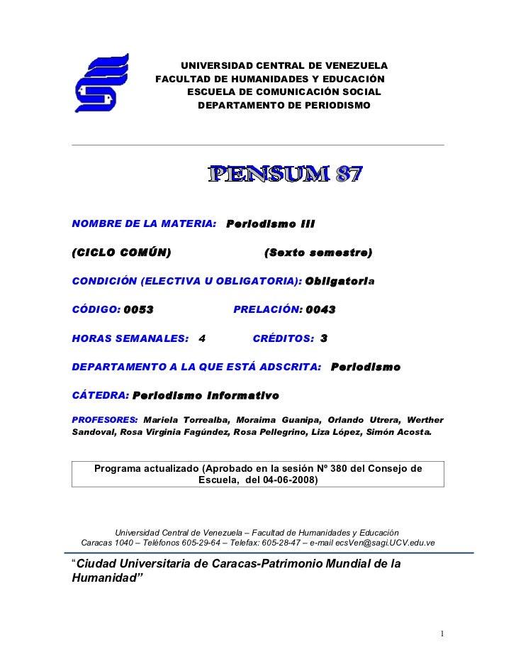 UNIVERSIDAD CENTRAL DE VENEZUELA                   FACULTAD DE HUMANIDADES Y EDUCACIÓN                        ESCUELA DE C...