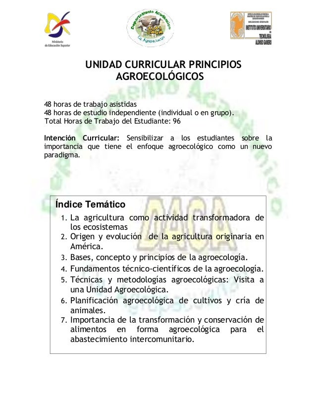 Programa principios agroecologicos agroalimentacion