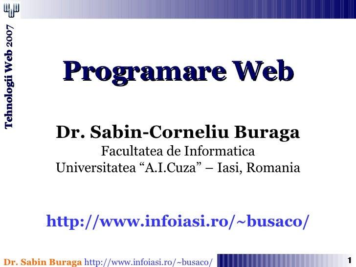 Programare Web - Arhitectura WWW