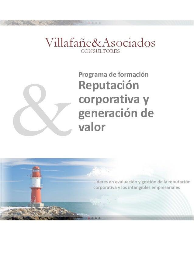 Programa de formación  Reputación corporativa y generación de valor