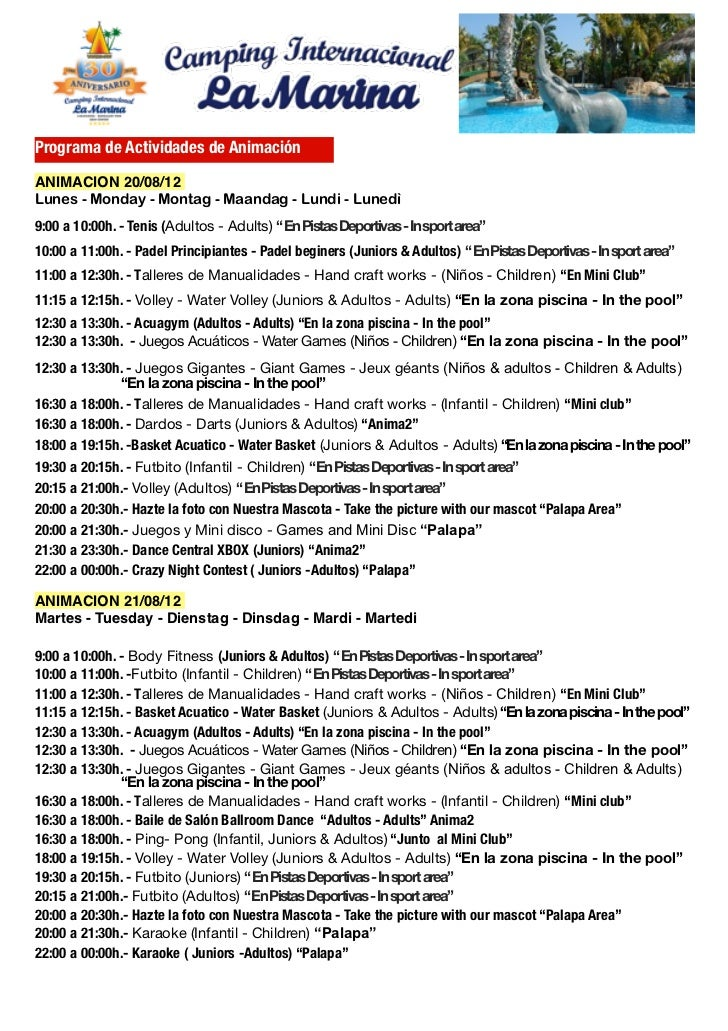 Programa de Actividades de AnimaciónANIMACION 20/08/12Lunes - Monday - Montag - Maandag - Lundi - Lunedì9:00 a 10:00h. - T...