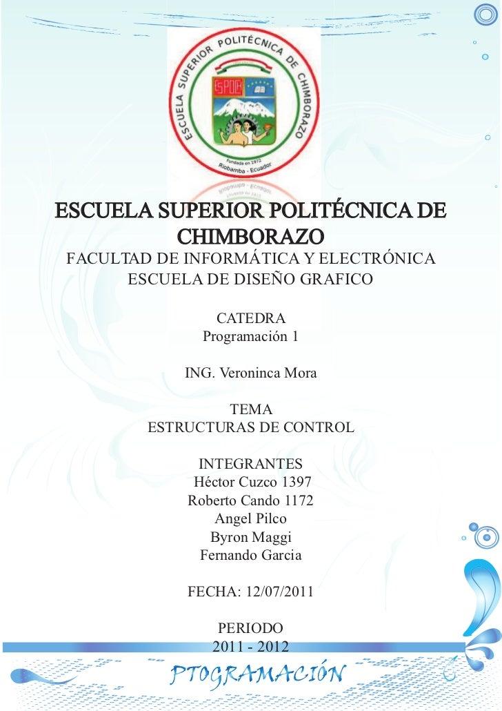 ESCUELA SUPERIOR POLITÉCNICA DE         CHIMBORAZOFACULTAD DE INFORMÁTICA Y ELECTRÓNICA      ESCUELA DE DISEÑO GRAFICO    ...