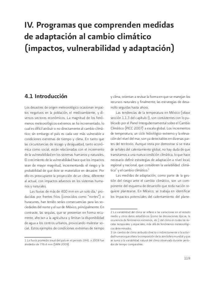 IV. Programas que comprenden medidasde adaptación al cambio climático(impactos, vulnerabilidad y adaptación)4.1 Introducci...