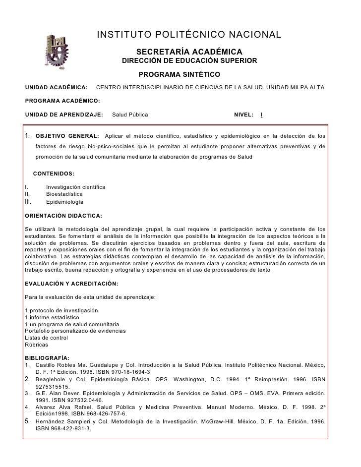 INSTITUTO POLITÉCNICO NACIONAL                                              SECRETARÍA ACADÉMICA                          ...