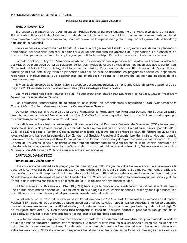 PROGRAMA S ectorial de Educación 2013-2018. Programa S ectorial de Educación 2013 2018 MARCO NORMATIVO El proceso de plane...
