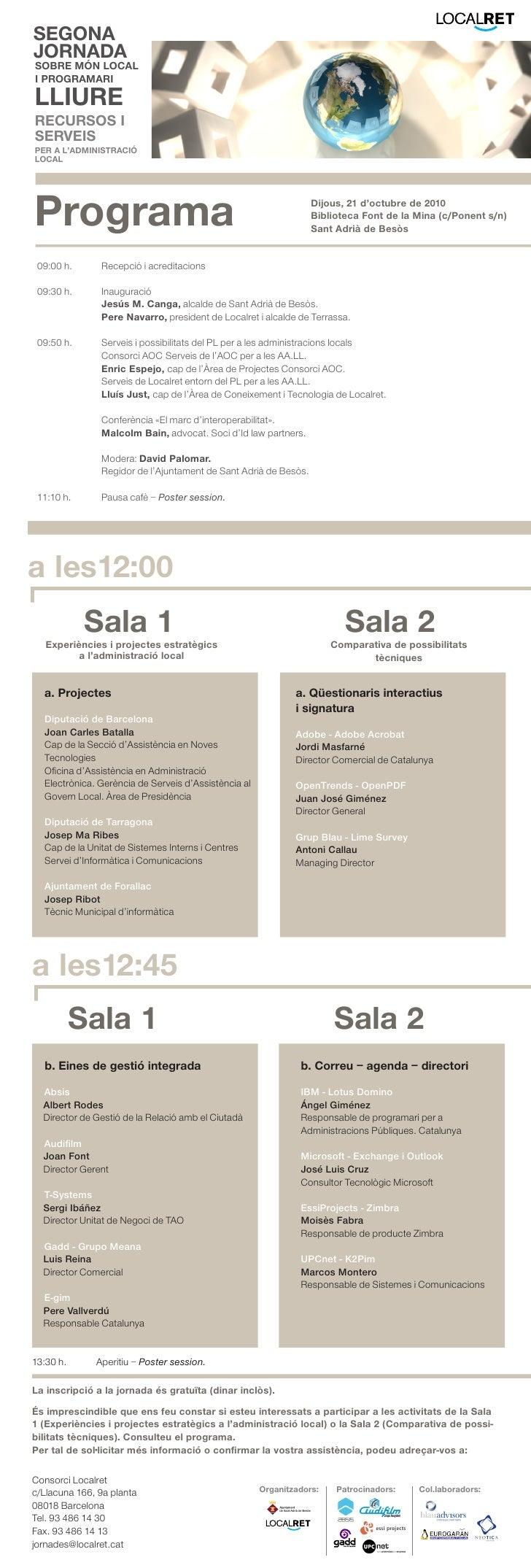 Programa II Jornada de Programari Lliure