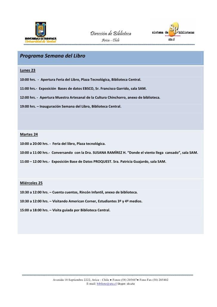 Programa Semana del Libro UTA 2012