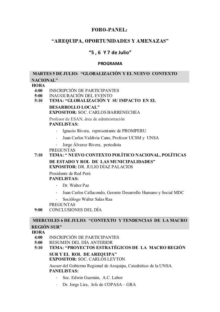 Programa Foro Panel Arequipa: Oportunidades y Amenazas