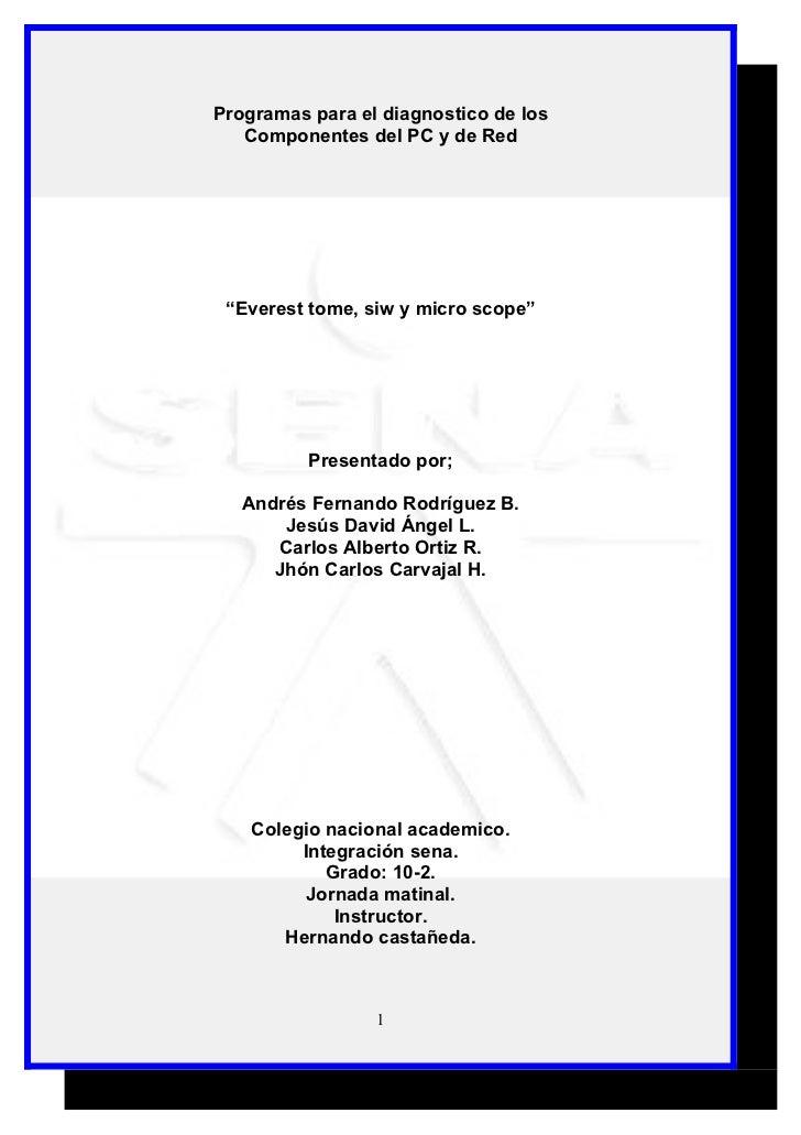 Programas para el diagnostico de los componentes del pc y de red