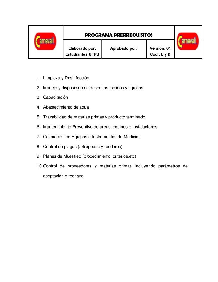 PROGRAMA PRE-RREQUISITOS