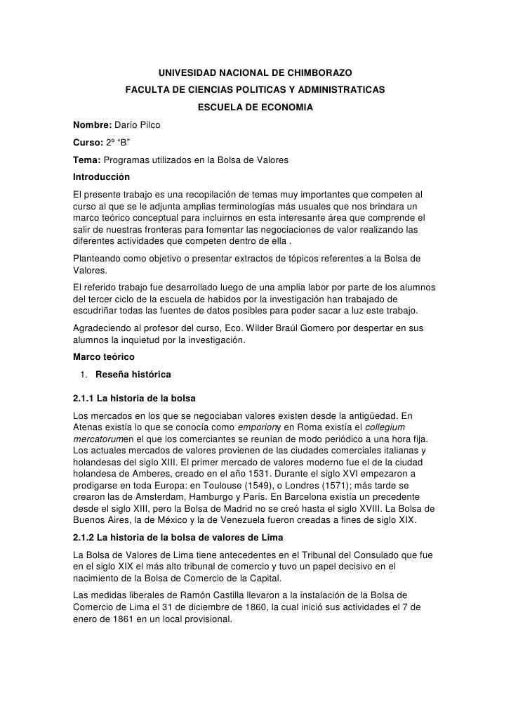UNIVESIDAD NACIONAL DE CHIMBORAZO<br />FACULTA DE CIENCIAS POLITICAS Y ADMINISTRATICAS<br />ESCUELA DE ECONOMIA<br />Nombr...