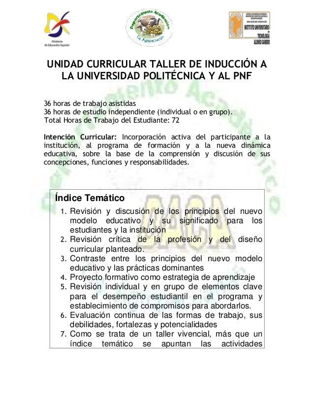 Programa taller de induccion al pnf agroalimentacion