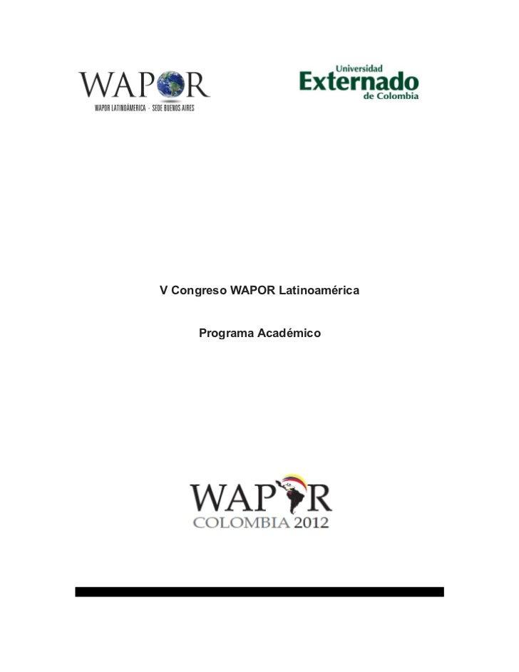 Programa v congreso wapor colombia