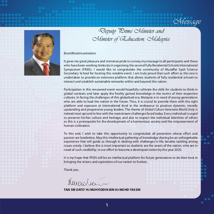 Message                     Deputy Prime Minister and                    Minister of Education, MalaysiaBismillhirahmanirr...
