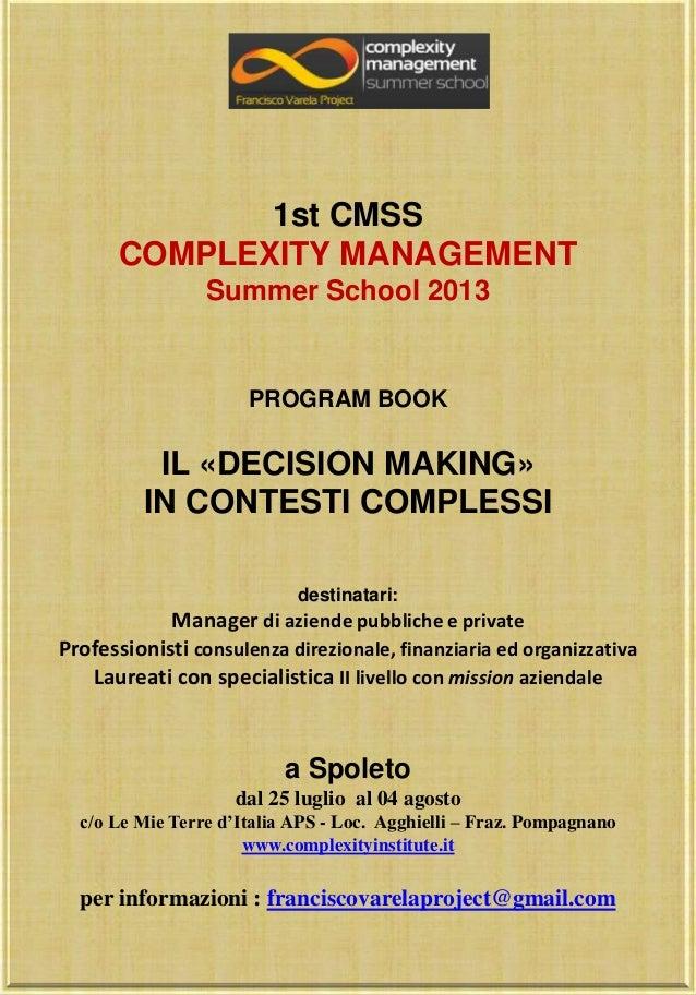 Program book  Complexity Management Summer School 2013