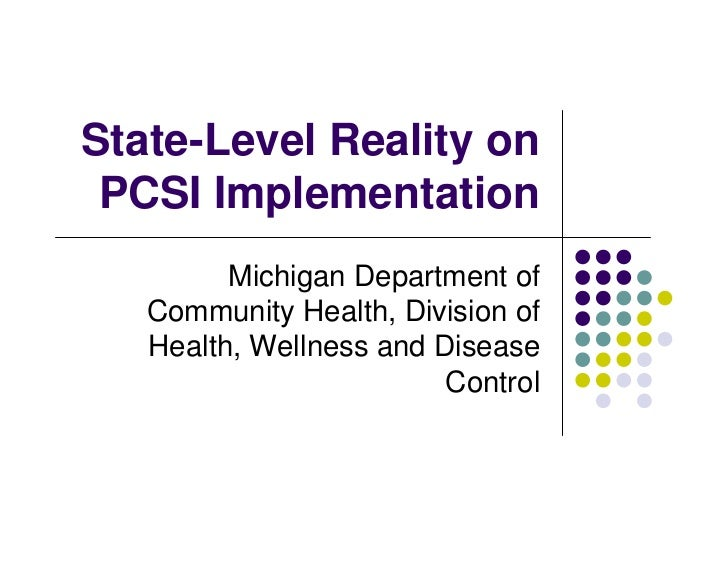 State-Level Reality on  PCSI Implementation          Michigan Department of    Community Health, Division of    Health, We...