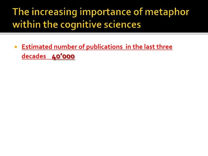 The increasing importance of metaphor within the cognitive sciences<br />Estimated number of publications  in the last thr...