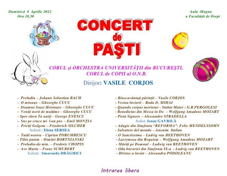 Concert de muzică clasică de Paști la Universitate
