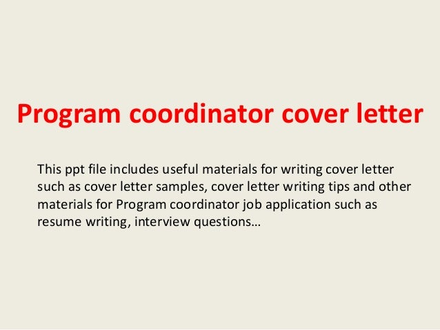 Project Coordinator Cover Letter Sample Project