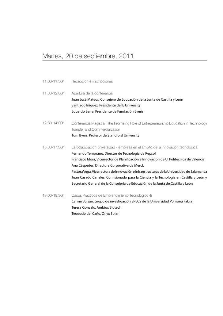 Martes, 20 de septiembre, 201111:00-11:30h   Recepción e inscripciones11:30-12:00h   Apertura de la conferencia           ...