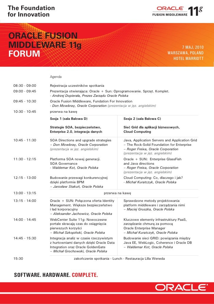 The Foundation for Innovation                                                                        SUN WELCOME AGENDA  O...