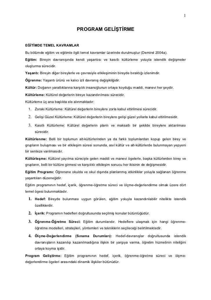 1                                      PROGRAM GELİŞTİRME   EĞİTİMDE TEMEL KAVRAMLAR  Bu bölümde eğitim ve eğitimle ilgili...