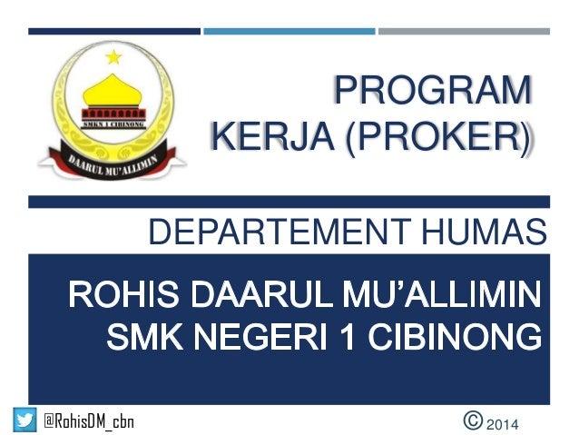 Program Kerja Dept. Humas 2014