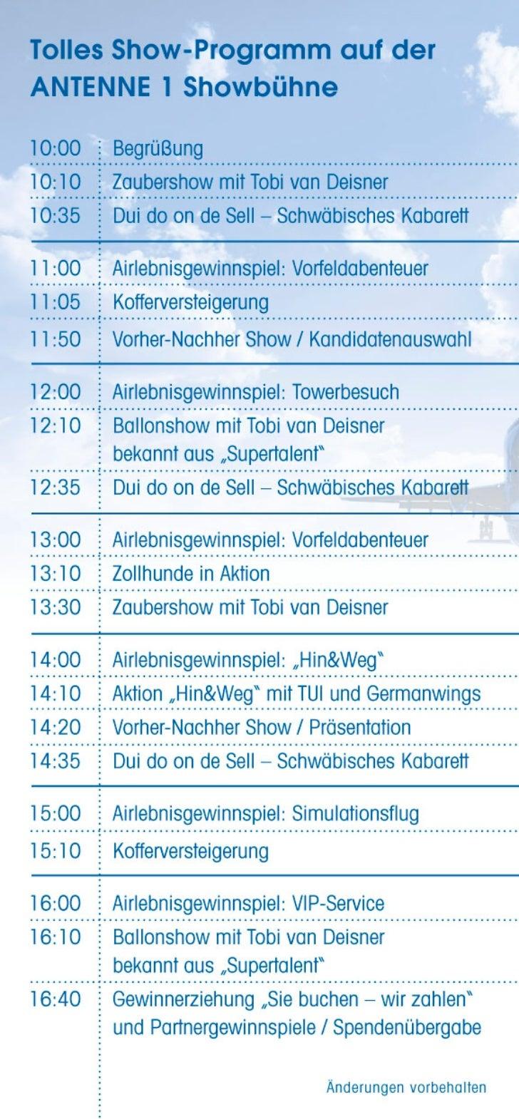 Programm Airportfestival Flughafen Stuttgart 2011