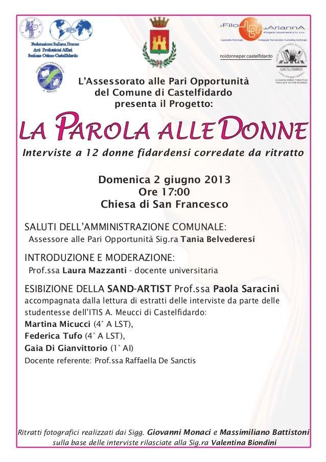 ASSOCIAZIONE TURISTICAPRO LOCO CASTELFIDARDOFederazione Italiana DonneArti Professioni AffariSezione Osimo-CastelfidardoDo...